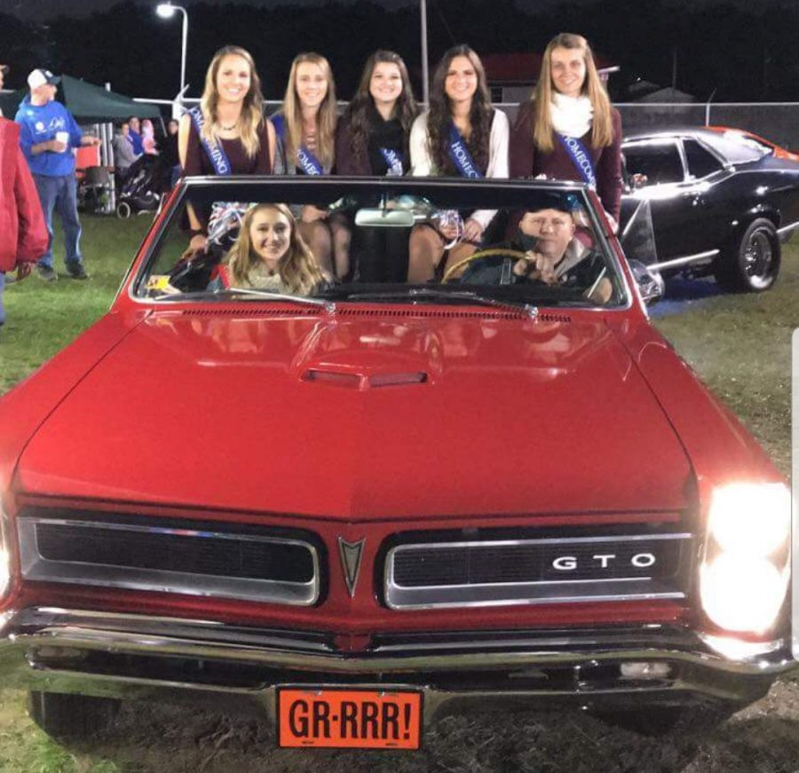 Homecoming Court (left to right) Emily White, Hailey Prestash, Mallarie Maines, Juila Herring, and Jen Adams