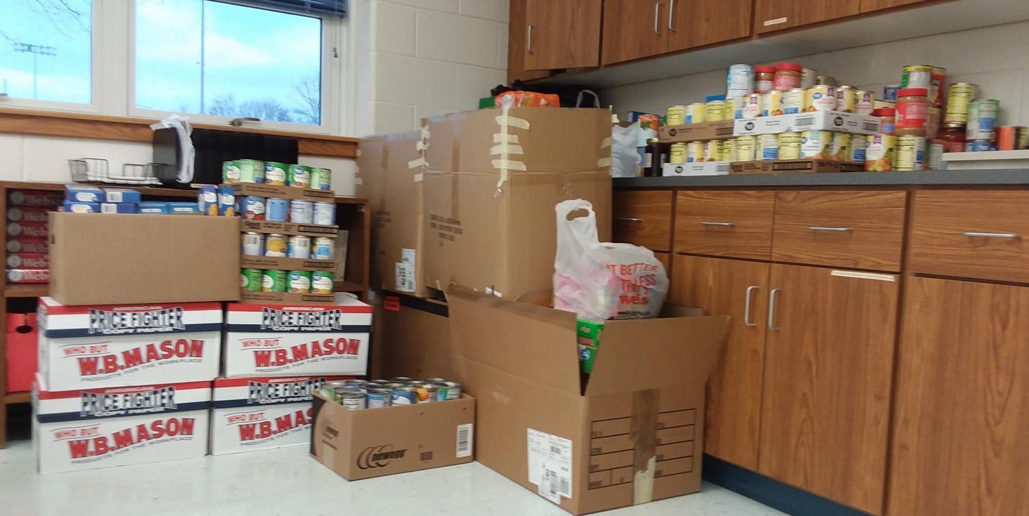 Food collected by students and staff of WB