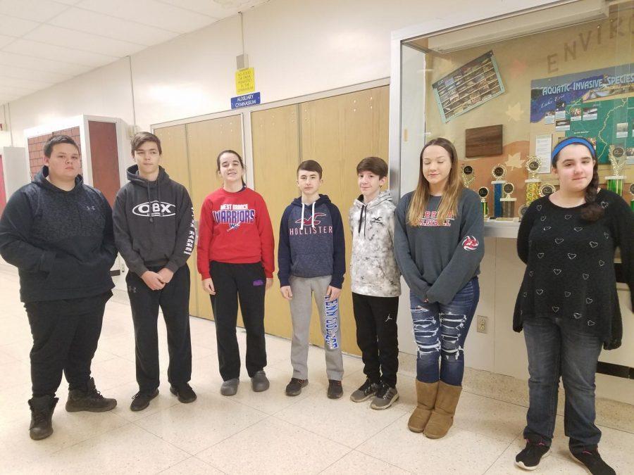 (From left to right): Samuel Fry, Aaron Myers, Hannah Betts, Landon Pase, Isaac Mussleman, Matayha Kerin, and Nicole Walker