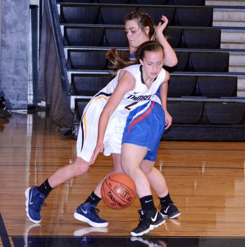 Photo courtesy of Rich Murawski Jazlynn Robb (West Branch) defends Sarah McClelland (Moshannon Valley)