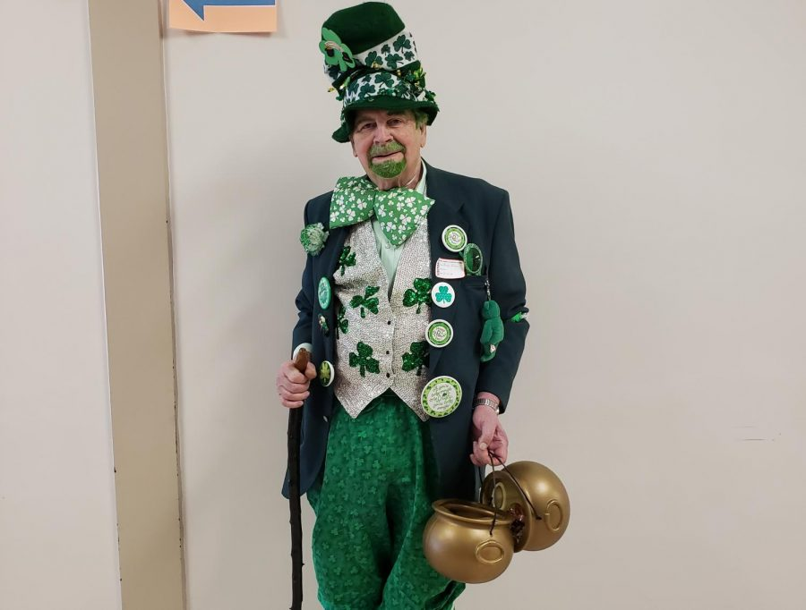 This is a photo of our favorite leprechaun, retired teacher Dan Beahan who visits the school every year.