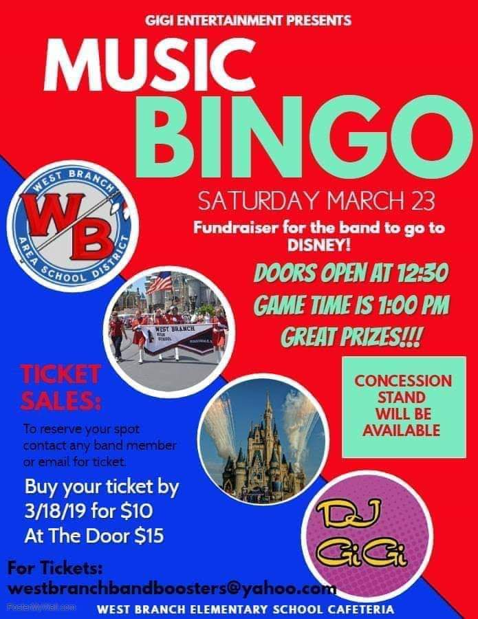 Music Bingo will be held on March 23rd, at 1:00 pm