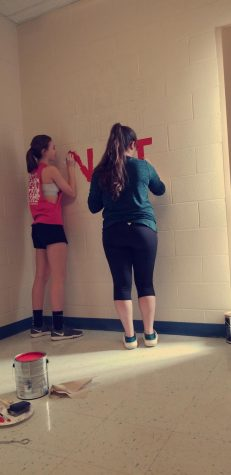 Trinity Prestash works with senior Morgan Emigh in the stairwell.