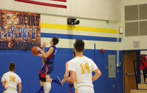 Trent drives to the basket during a JV game at Bellwood-Antis.