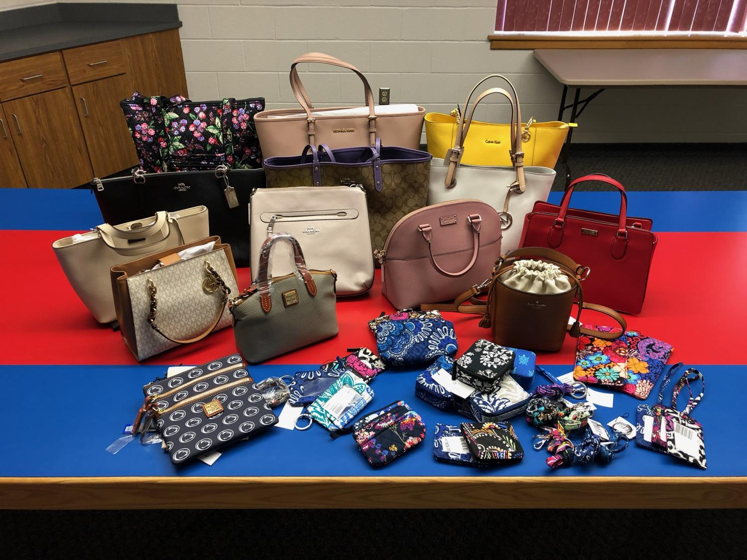 Display of bags generously donated by the community.