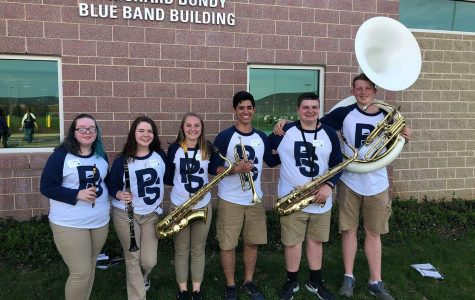 WB Band members outside of the O. Richard Bundy Blue Band Building. Left to Right Skylar Moskol, Mercedes Nearhood, Megan Yingling, Joshua Guerra, Elijah Williams, Dalton Kristofits.