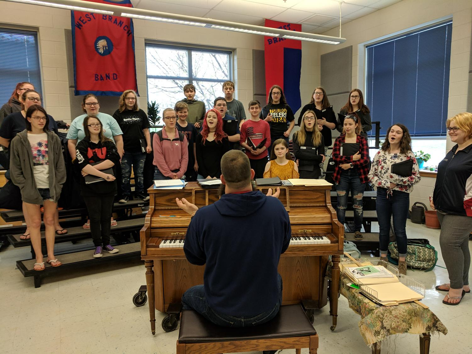 The WB Chorus performing after an improvised plan for the music department.