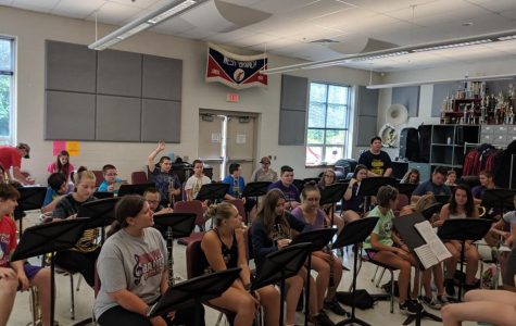 Warrior Marching Band during the 2018-2019 season preparing for the football season during their band camp