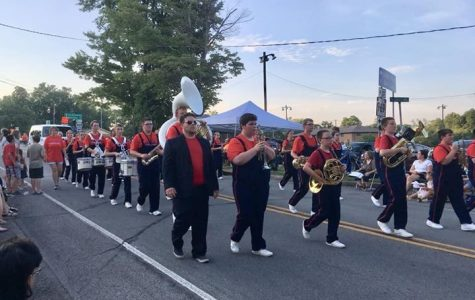 Mr. Jones Marching along side the Warrior Band at the Curwensville Parade