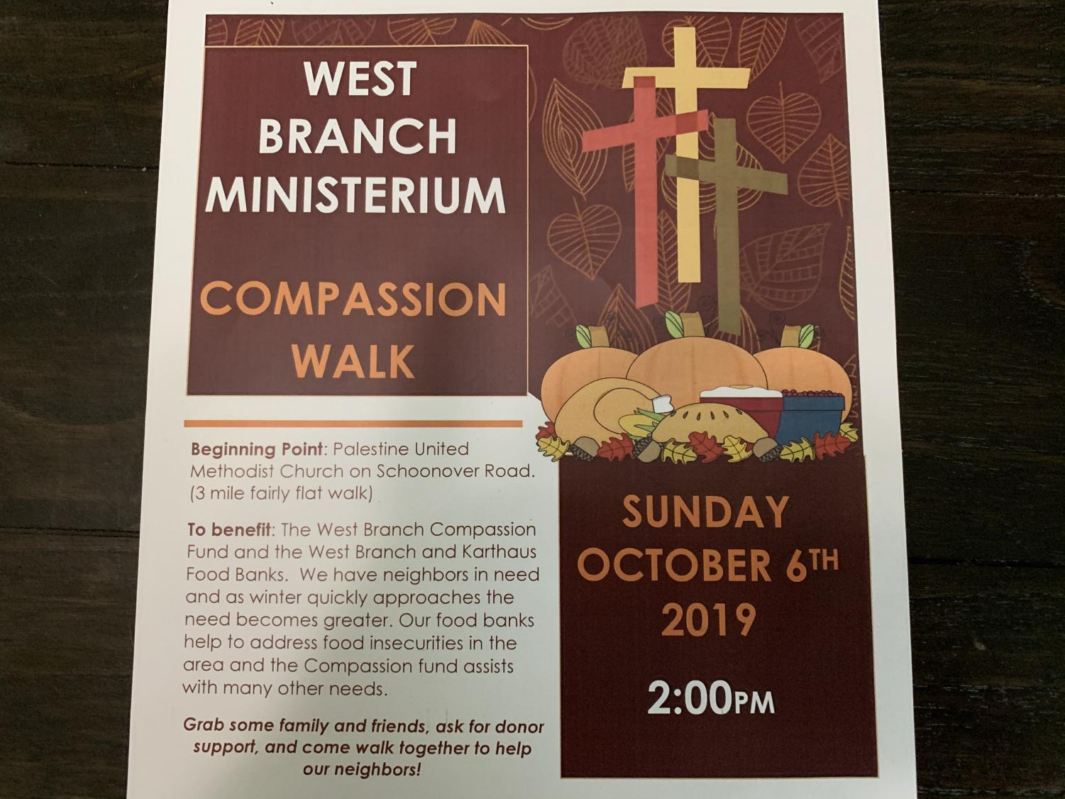 The West Branch Ministerium Compassion Walk will be on Sunday, October 6th
