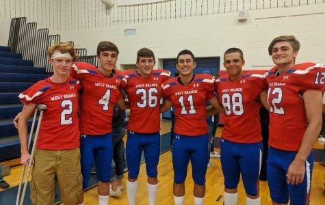 Senior Warrior Football Players From Left to Right: Kyle Godin, Chance Eboch, Aidan Kepart, Ayden Gutierrez, Caleb Williiams, Eddie Dale. Missing from picture Zaston Lamb