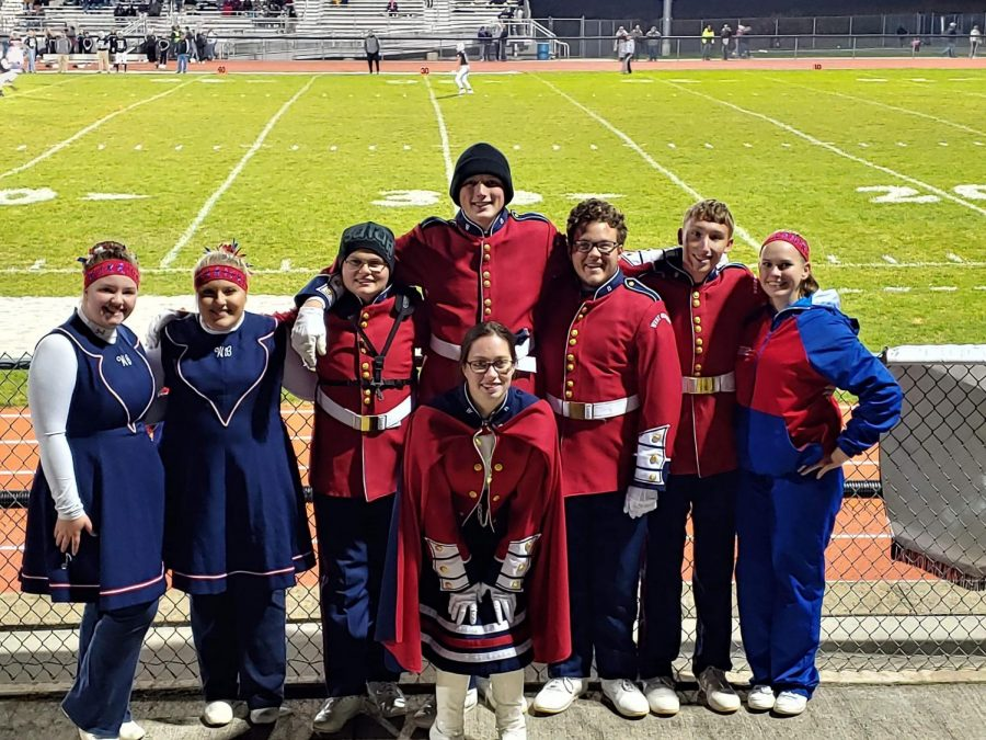Senior Band Members from left to right Dylanee Bell, Macy Kerfoot, Isaiah Lutz, Dalton Kristofits, Noah Shingledecker, Connor Blasko, Taylor Maguire. Center Katelyn Coulter