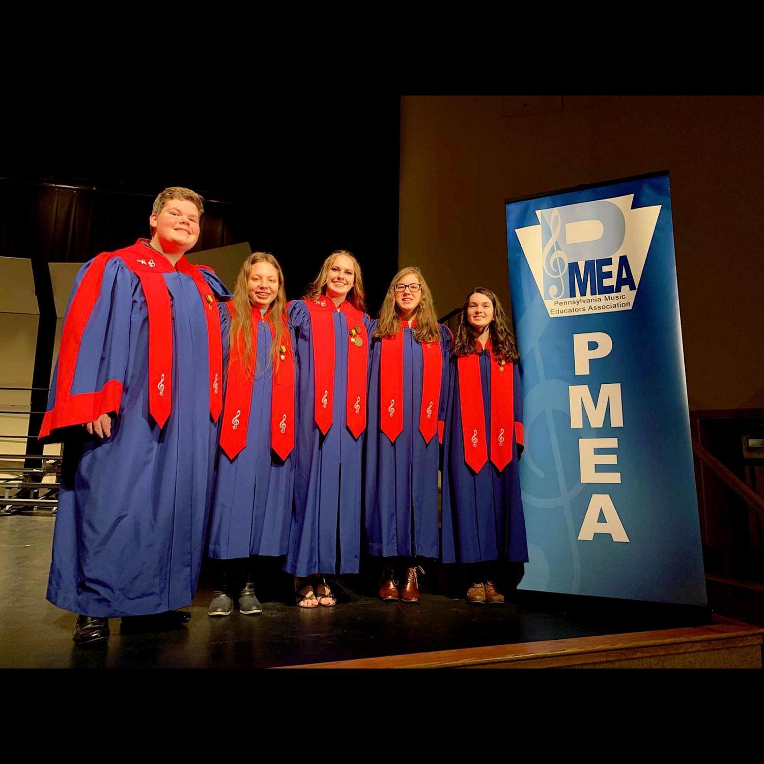 WB District Choir Representatives From Left to Right Noah Fry, Khandyce English, Taylor Maguire,Maya Rahb. and Carrie Fuller.