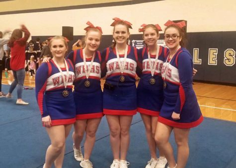 Breanna Thompson, Ashley Warner, Taylor Maguire, Gretchen Yatchik and Rachel Kyler pose for a photo after receiving their 1st place medals.