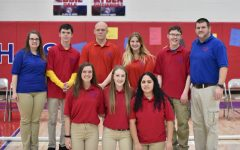 West Branch Bocce Ball team after their win against MoValley. Top Row From Left to Right; Ms. Johnson, Denver McGuire, Jarod Koleno, Katlyn Folmar, Trevor Jones, Mr. Koleno Bottom Row from Left to Right; Taylor Myers, Emma Morlock, Esther Guerra