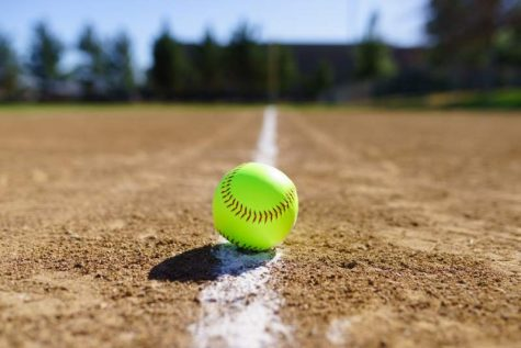 A softball on the field.