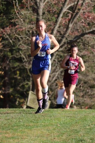 Erika running her ICC meet at Juniata Valley Last Thursday. She placed 8th overall in the race.