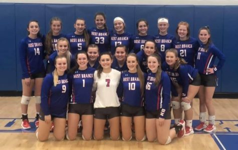 The Lady Warrior volleyball team posing for a photo following their big win.