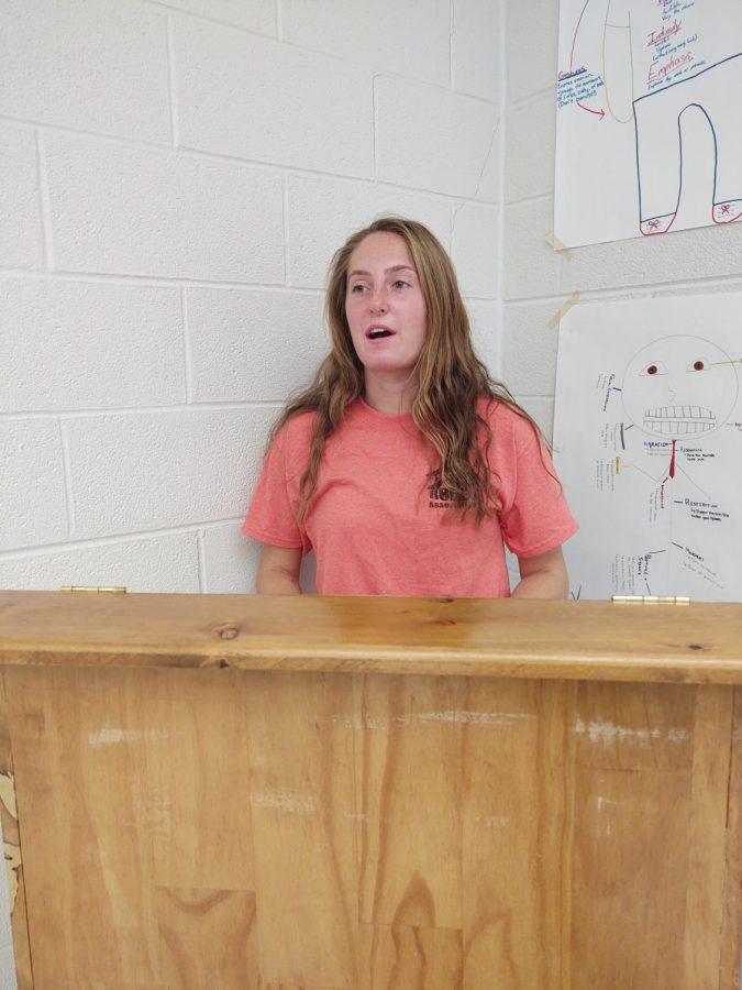 Sydney Dunlap giving a speech for her public speaking class.