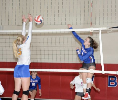 Senior Taylor Myers hits around Glendale's strong blocker, Kyla Campbell.