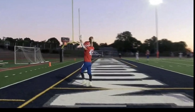 Noah+Hoffner+celebrates+a+touchdown+in+the+endzone+during+a+game+against+Moshannon+Valley.