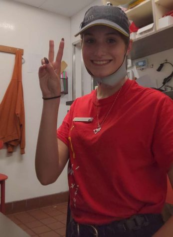 Olivia Blasko, Junior, working as a shift manager at McDonald's.