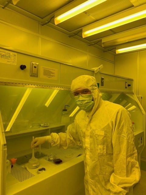 Caleb Glaser working on new developments in the field of nanotechnology.
