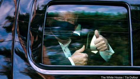 President Trump leaving Walter Reed on his way back to the White House.