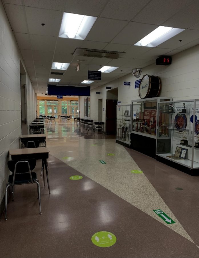 Empty desks line the hallways weeks before West Branch closed its doors to students.