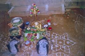 The cooking area is decorated with flowers during Pongal