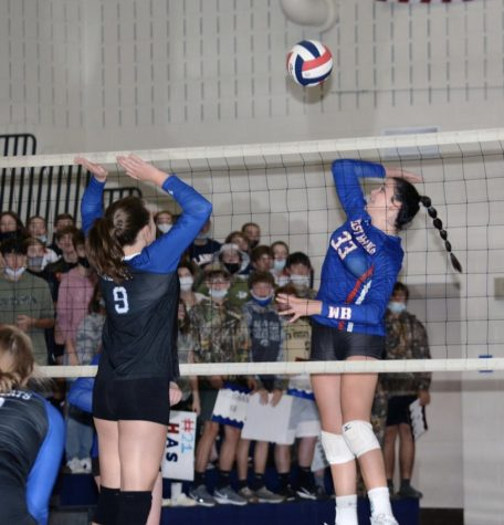 Katrina Cowder going up for a kill on Monday against Central Mountain.