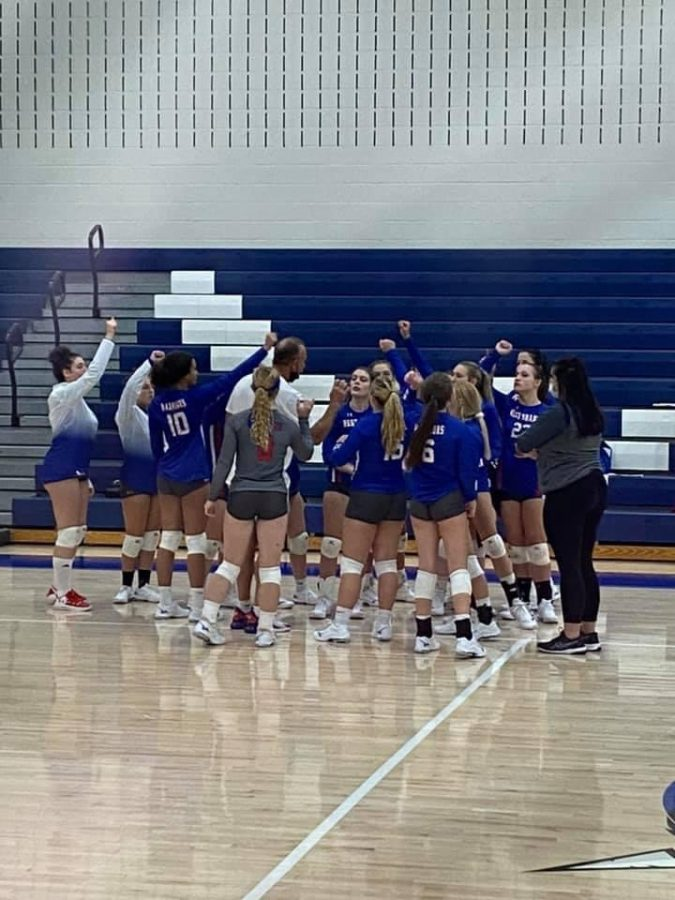 Lady Warriors breaking it down before entering the 2nd set against Juniata Valley.