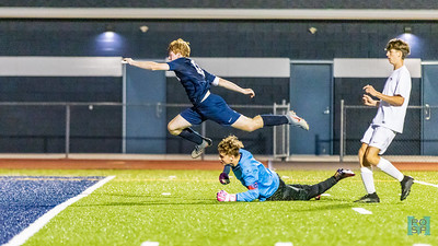 Alex Godin hurdles the goalie on a breakaway, resulting in a goal for the Mounties.