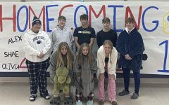 The Homecoming Court poses for a picture for pajama day on Wednesday.